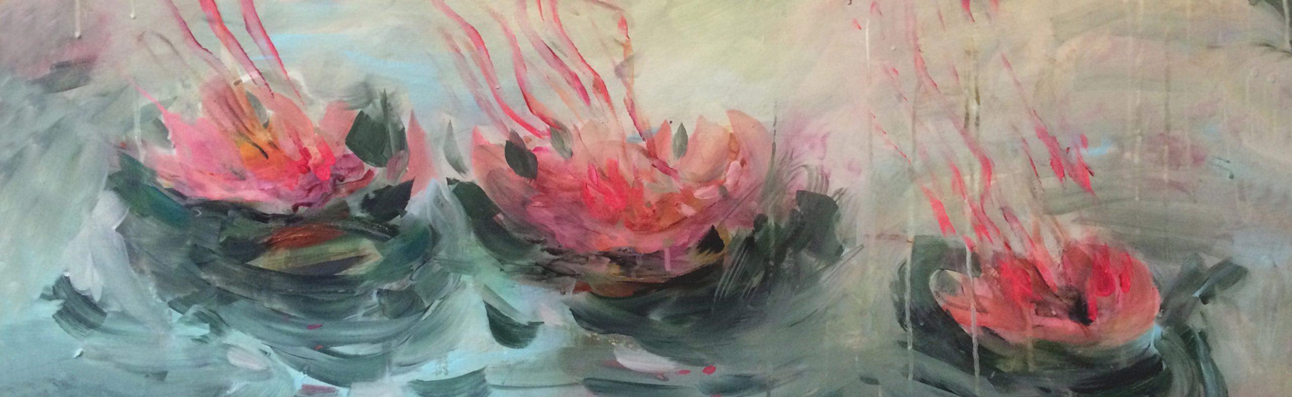 Peinture sur toile Waterlilies - Estelle Séré